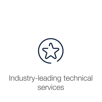 "Star icon  with text displaying  ""Industry leading technical services"""