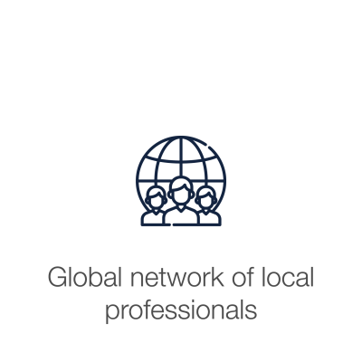 "People in from of globe icon with text displaying ""Global network of local professionals"""