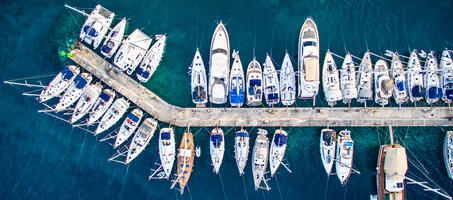 Yatch Ports with many docked vessels. Above view looking down